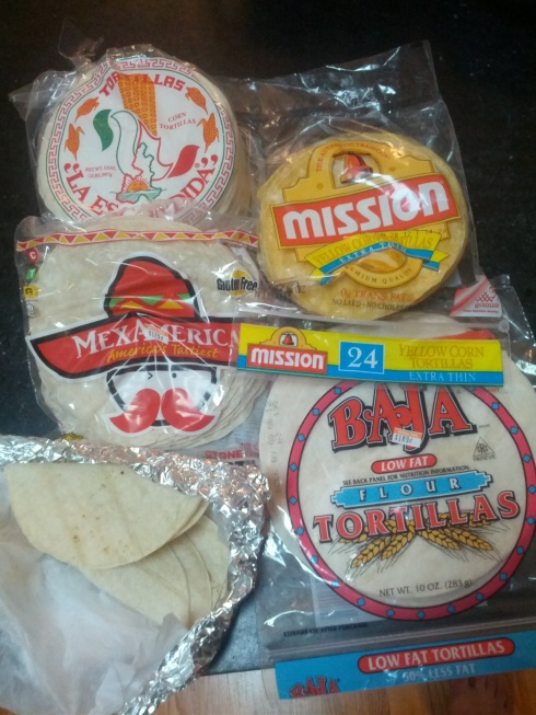 The selection of tortillas about to be fried.